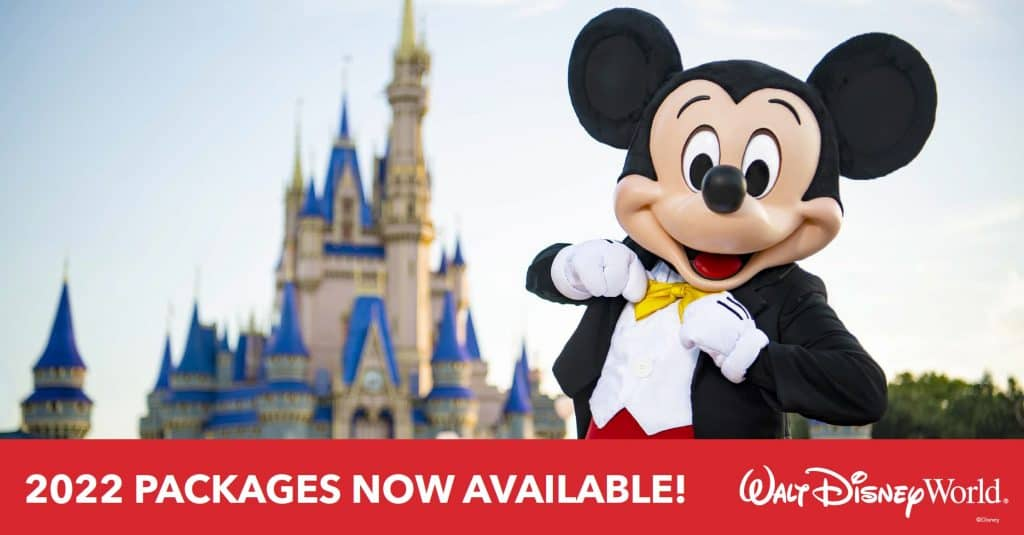 Mickey Mouse and Walt Disney World Castle announcing 2022 packages now available
