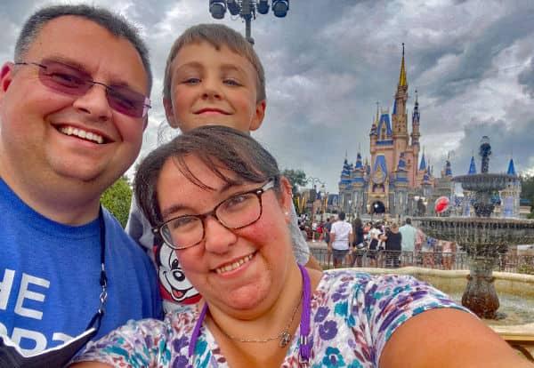 Mom, Dad and son at Walt Disney World